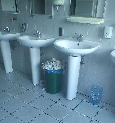 Grup sanitar de la etajul unde se află CNADNR